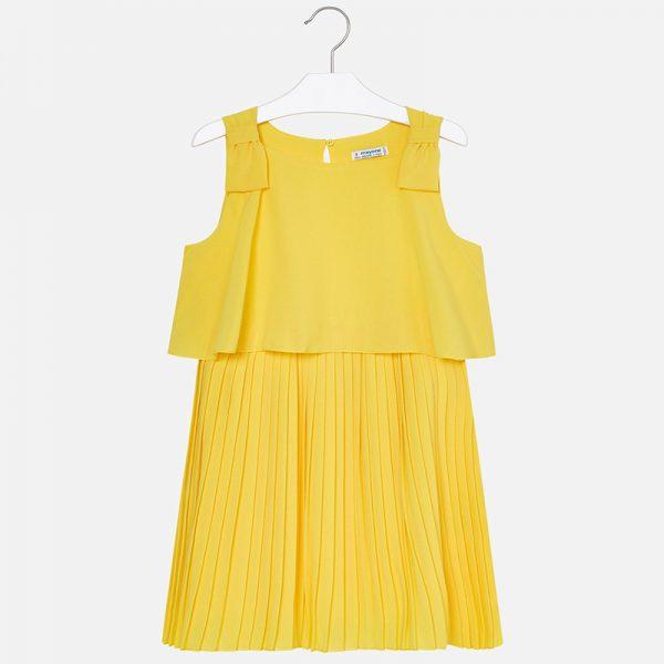 Детска плисирана рокля oт колекция Пролет-Лято 2019 на MAYORAL в жълто