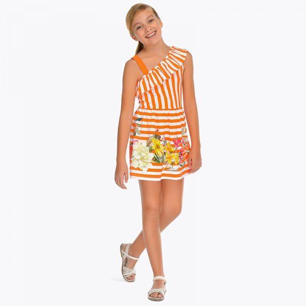 Детска рокля с принт на оранжеви райета и цветя от колекция Пролет- Лято 2019 на MAYORAL.