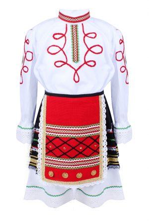 Детска северняшка народна носия за момиче от три части. с ширити