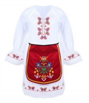 Детска тракийска народна носия за момиче с бродерии характерни за областта от две части- риза и престилка