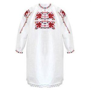 Детска дълга тракийска народна риза за момиче с бродерия от кенар.