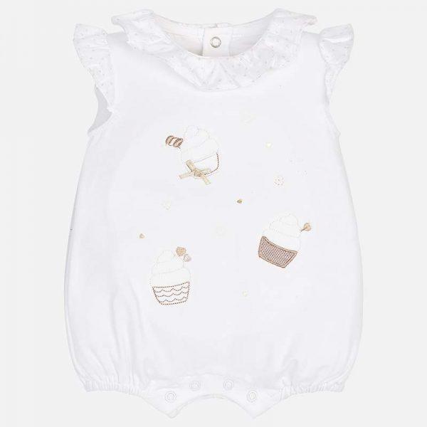 Бебешки гащеризон/ ромпър за момиче от колекция Пролет- Лято 2019 на MAYORAL в бяло
