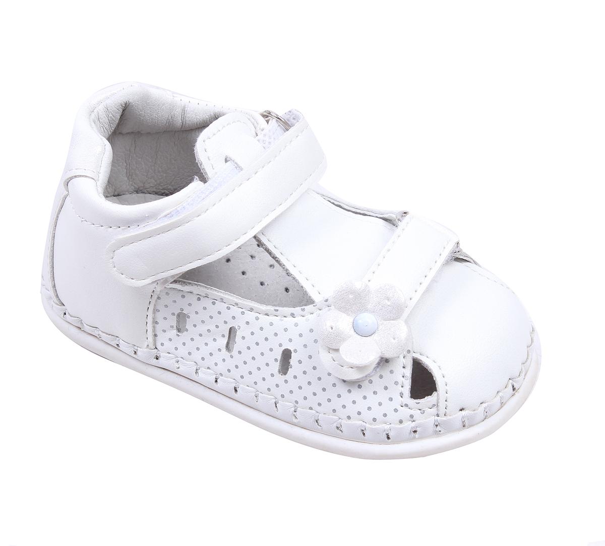 0ea1413d39f Бебешки сандали за момиче за прохождане в бяло и циклама ...