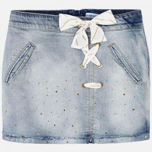Детска дънкова пола със златисти капзи и панделка от колекция Пролет-Лято 2019 наMAYORAL.