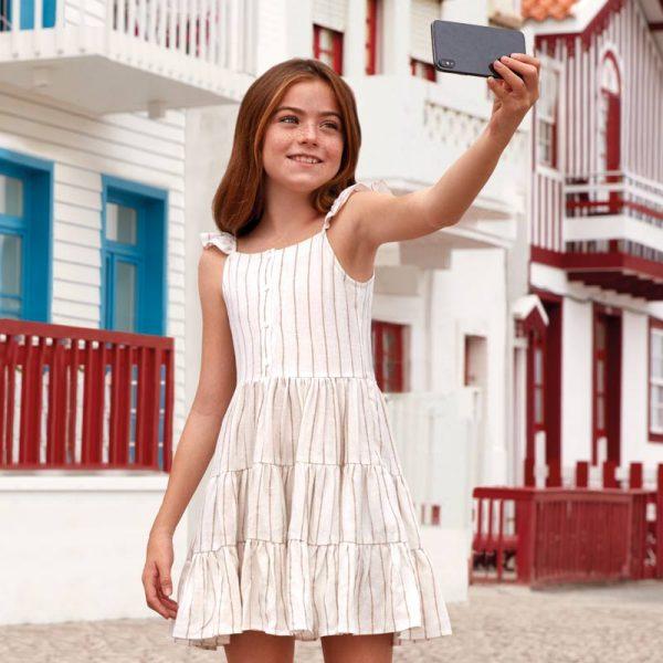 Детска ленена рокля на райета с панделка от колекция Пролет- Лято 2019 на MAYORAL