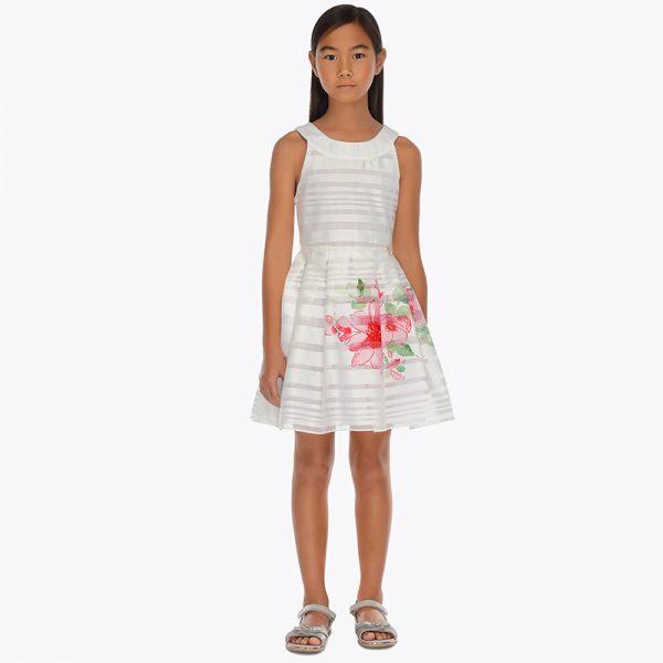 Детска официална рокля в бяло с принт на цветя от колекция Пролет- Лято 2019 на MAYORAL.