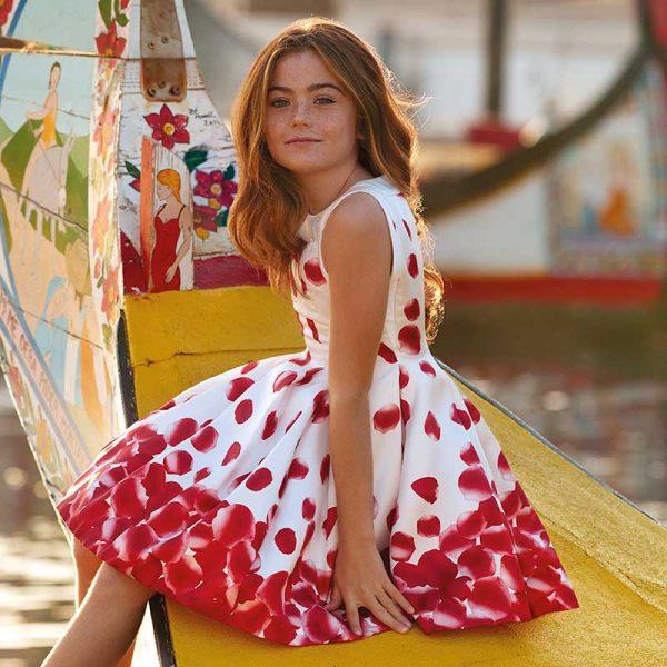 Детска официална рокля с принт на червени листа от колекция Пролет- Лято 2019 на MAYORAL.