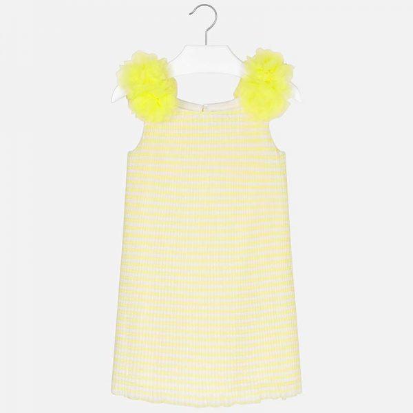 Детска плисирана рокля с жълти цветя на презрамките от колекция Пролет- Лято 2019 на MAYORAL