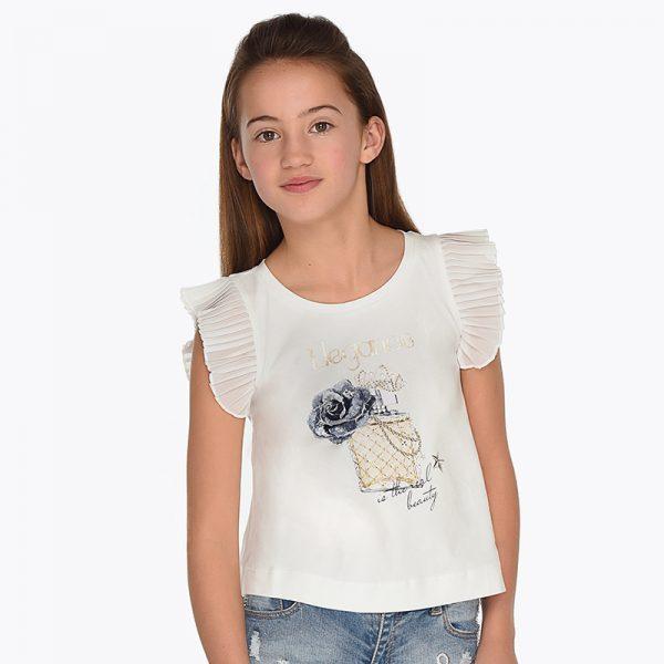 Детска тениска за момиче с плисиран ръкав с принт на парфюм от колекция Пролет- Лято 2019 на MAYORAL.