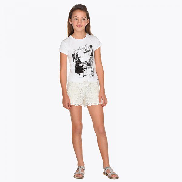 Детски къси дантелени панталони за момиче в екрю от колекция Пролет- Лято 2019 наMAYORAL.