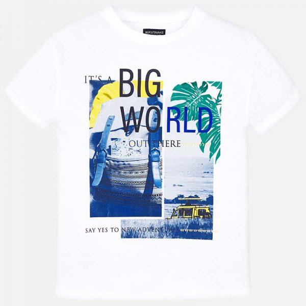 Юношеска тениска за момче в бяло с принт от колекция Пролет- Лято 2019 на MAYORAL .