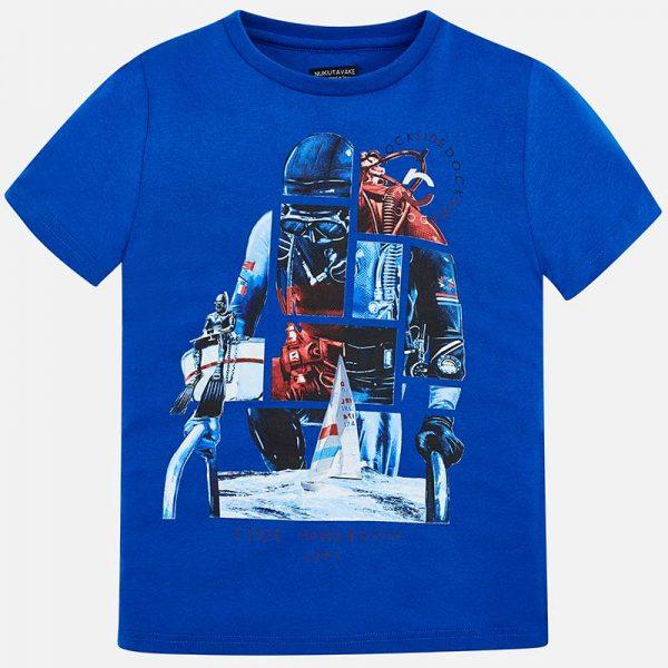 Юношеска тениска за момче в синьо с принт на водолаз от колекция Пролет- Лято 2019 наMAYORAL
