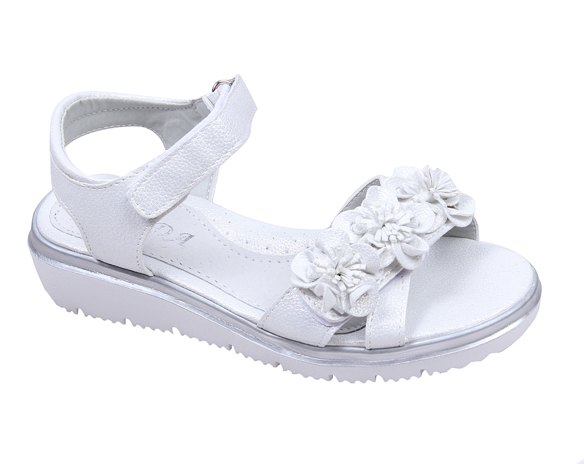 bcd77395f6f Детски сандали за момиче с платформа в сребристо и коригиращи лепки с цветя.