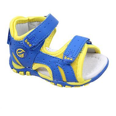 Бебешки сандали за момче с анатомична стелка в синьо с отворени пъсти и стабилна затворена пета