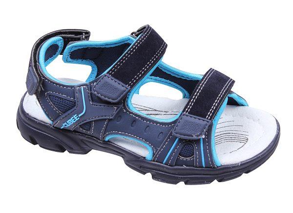 Детски сандали за момче в синьо с естествена анатомична стелка и регулиращи велкро лепки.