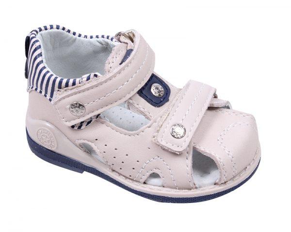 Универсални бебешки сандали с анатомична подметка в бежаво от естествена кожа със затворени пета и пръсти