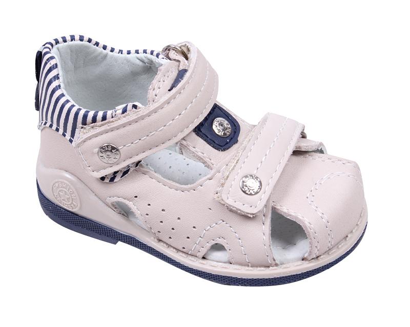 80e0a0ec7e0 Универсални бебешки сандали с анатомична подметка в бежаво от естествена  кожа със затворени пета и пръсти