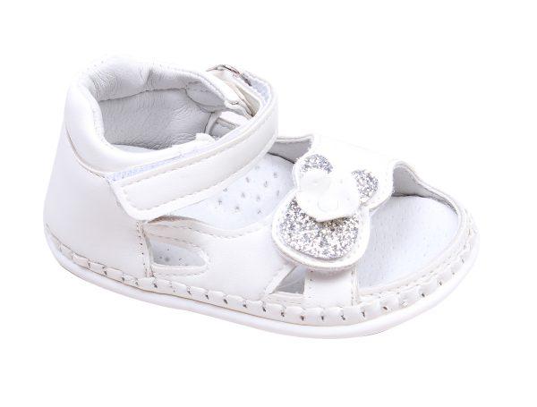 Бебешки сандали за момиче за прохождане в бяло с блестящо цвете с две коригиращи лепки.