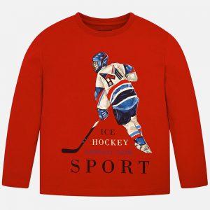 Детска блуза за момче с дълъг ръкав с принт на хокеист в червено от колекция Есен- Зима 2019/2020 на MAYORAL
