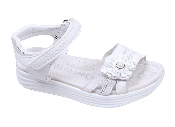 Детски сандали за момиче в бяло и сребристо, с коригираща велкро лепка и анатомично ходило с естествена стелка