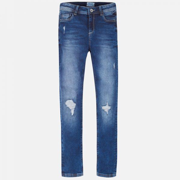 Юношески дънки за момиче с накъсан ефект в класически син деним от колекция Есен-Зима 2019 на MAYORAL.