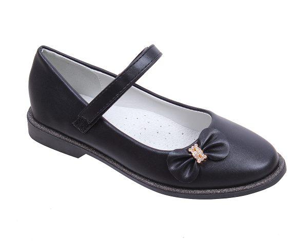 Детски официални обувки за момиче в черно с ефектна панделка с нежни камъчета и анатомична стелка