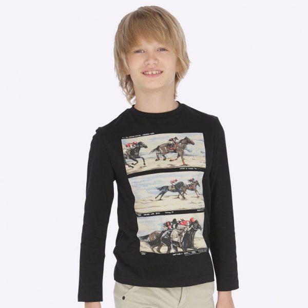 Юношеска блуза за момче от колекция Есен- Зима`19 на MAYORAL в черно с принт на коне