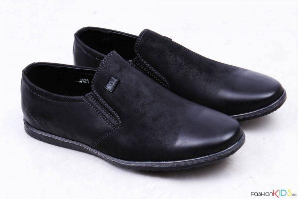 Официални юношески обувки за момче без връзки в черно с есетествена стелка и анатомично ходило