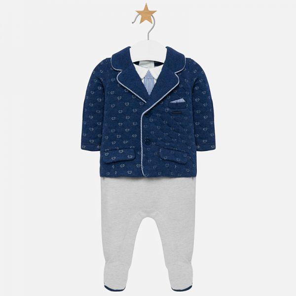 Бебешки официален топъл гащеризон за новородено момче с имитиращо сако и вратовръзка в тъмносиньо и сиво.