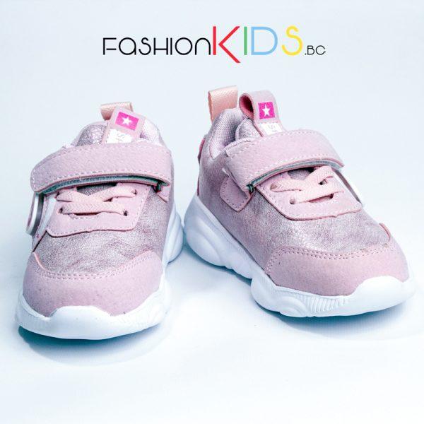Бебешки светещи маратонки- сникърси за момиче в розово с коригираща велкро лепка и анатомично ходило