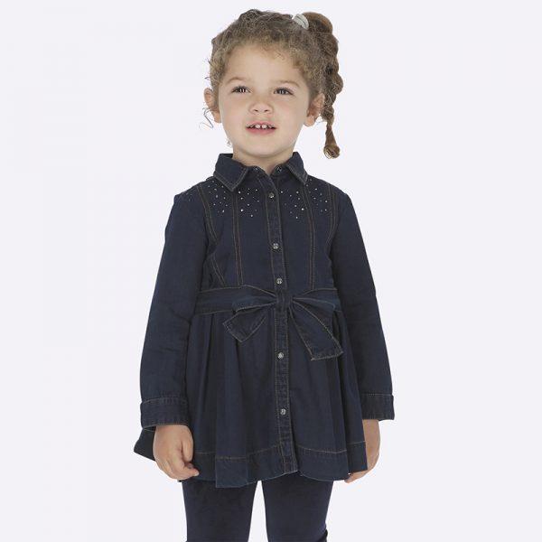 Детска дънкова рокля за момиче с камъчета и колан от колекция Есен- Зима 2019/ 2020 на MAYORAL.