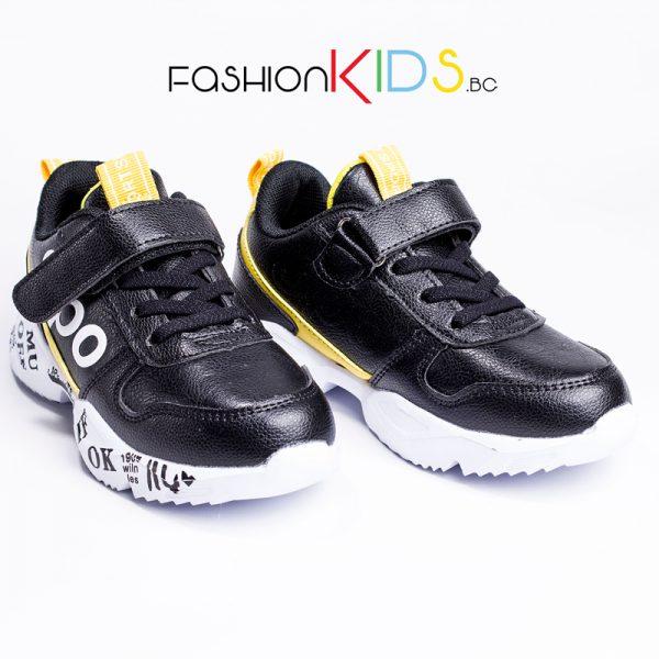 Универсални детски маратонки- сникърси в черно и жълто с велкро лепка и коригиращи ластични връзки с ефектна цветна подметка
