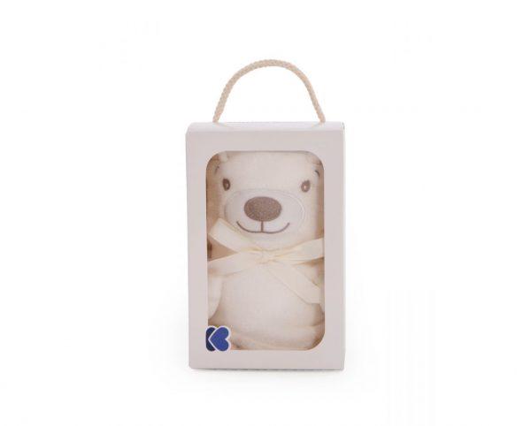 Бебешко топло одеяло в екрю с 3D ефект- мече в подаръчна кутия