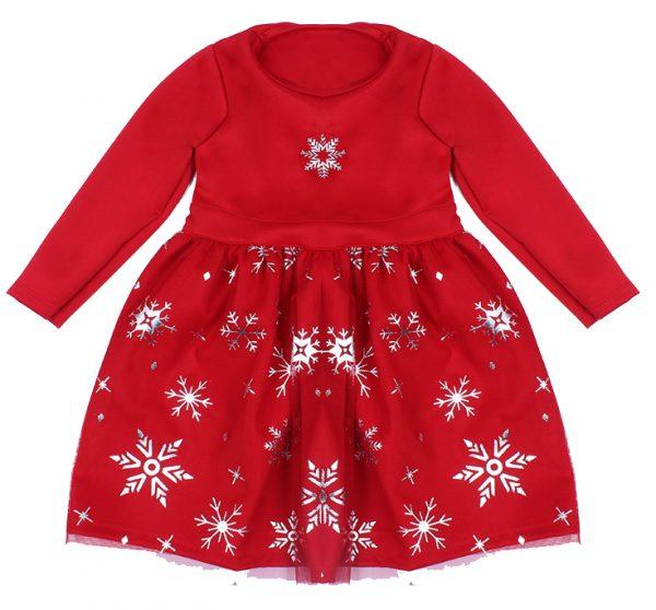 Детска коледна рокля в червено на звезди с дълъг ръкав и въртящ ефект.