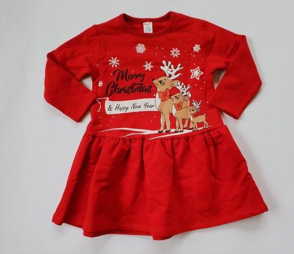 Коледна рокля за бебе в червено с дълъг ръкав, щампа с еленчета и въртящ ефект