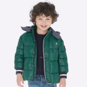 Детско дебело зимно яке за момче в маслено зелено с качулка от колекция Есен/ Зима 2019/ 2020 на MAYORAL