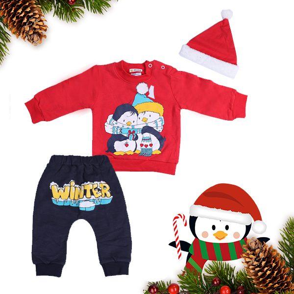 Бебешки топъл комплект от три части- шапка, долнище и блуза със зимни мотиви