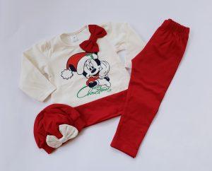 Детски коледен комплект с Мики Маус за момиче в червено с туника, клин и шапка- барета