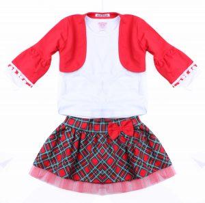 Детски коледен комплект за момиче от три части с пола, болеро и блуза в бяло зелено и червено.