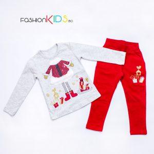 Детски коледен комплект за момиче туника с клин с блестящи червени пайети