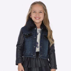 Детско комбинирано яке за момиче в дънково, кожа и еко яка от Колекция Есен- Зима 2019/ 2020 на MAYORAL.