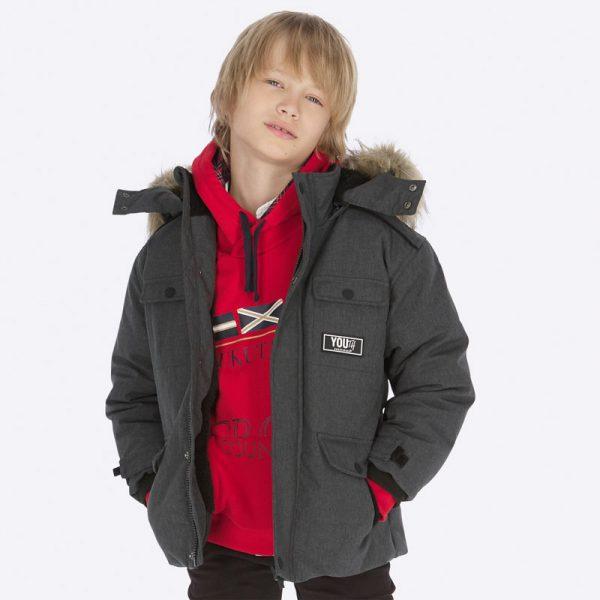 Дебело зимно яке за момче в сиво с подвижна качулка в сиво от Колекция Есен- Зима на MAYORAL