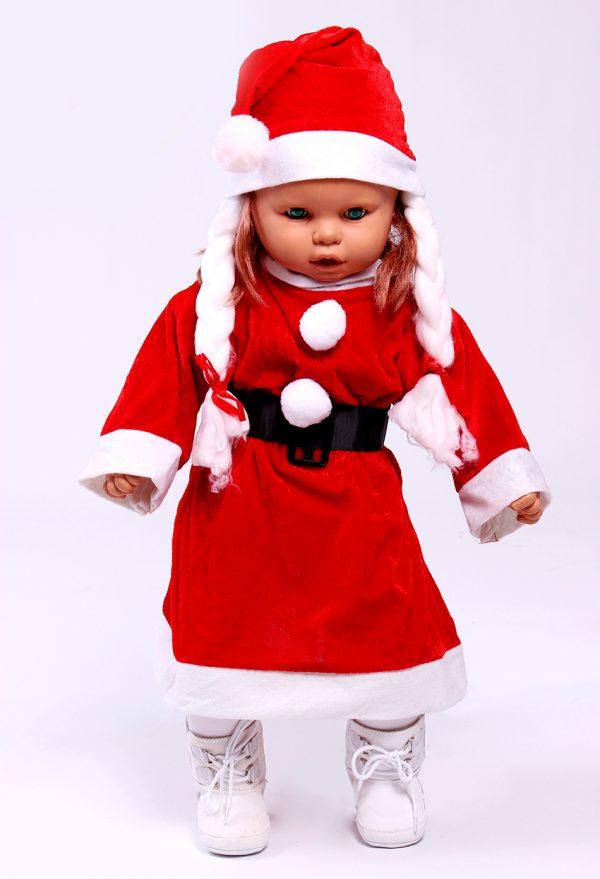 Детска коледна рокля в червено с шапка с плитки и бели маншети.