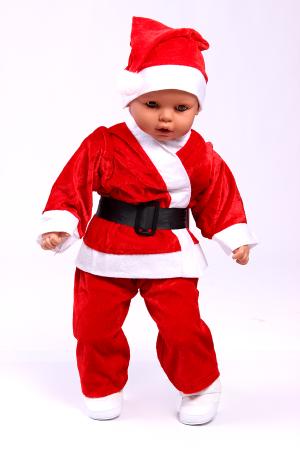 Коледен костюм на джудже в червено с шапка, брада и черен кожен колан.