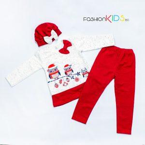 Детски коледен комплект с бухали за момиче в червено с туника, клин и шапка- барета.