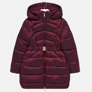 Детско дълго яке за момиче в бордо с качулка и колан от колекция Есен- Зима 2019/ 2020 на MAYORAL