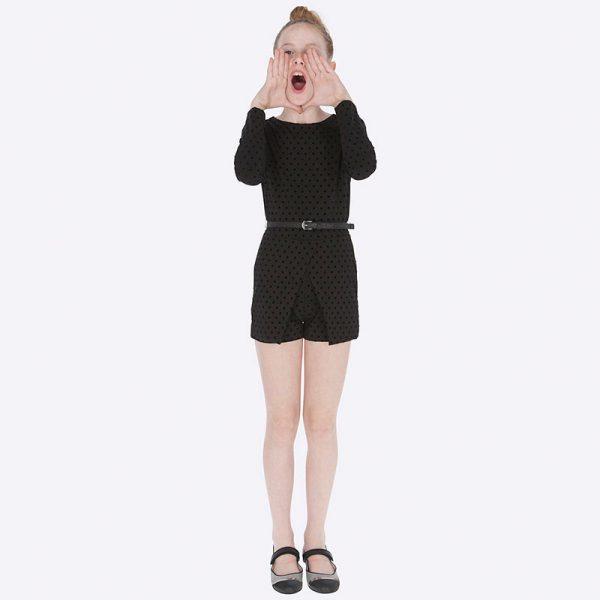 Детски официален гащеризон за момиче в черно на точки от Колекция Есен- Зима 2019/ 2020 на MAYORAL