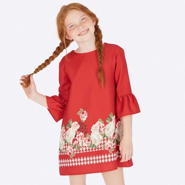 Детска официална рокля в червено на цветя от Колекция Есен- Зима 2019/20 на MAYORAL.