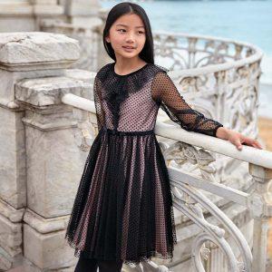 Детска официална рокля с тюл в розово и черно от колекция Есен/Зима 2019/20 на MAYORAL