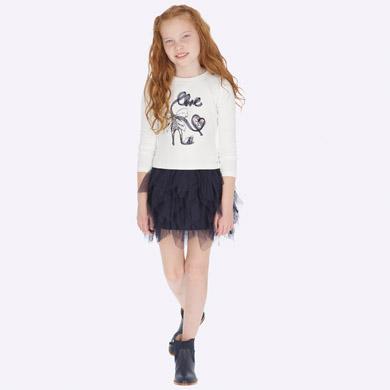Детска рокля с тюл и волани в бяло и тъмносиньо от Колекция Есен- Зима 2019/ 2020 на MAYORAL